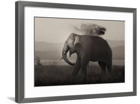Tusker in Rain-Ganesh H Shankar-Framed Art Print
