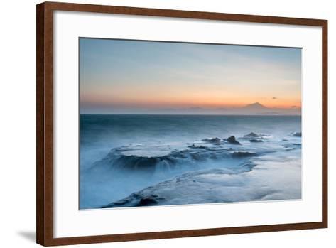 Strong Waves Crashing into Sea Rocks at Sunset, Kanagawa Prefecture, Japan-Discover Japan-Framed Art Print