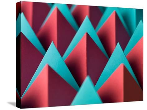 Abstract Geometrical Background with Colorful Paper Pyramids. Selective Focus- Abstract Oil Work-Stretched Canvas Print