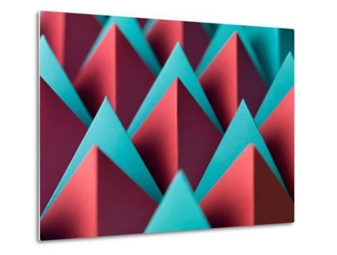 Abstract Geometrical Background with Colorful Paper Pyramids. Selective Focus- Abstract Oil Work-Metal Print