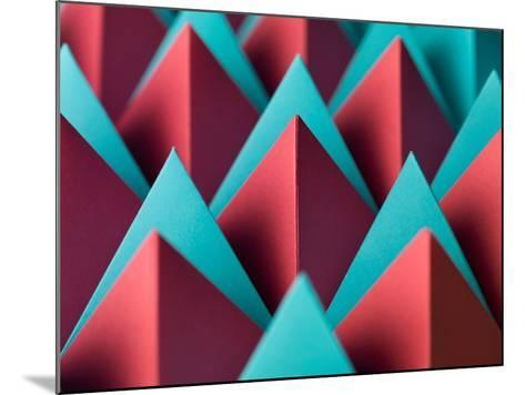 Abstract Geometrical Background with Colorful Paper Pyramids. Selective Focus- Abstract Oil Work-Mounted Photographic Print