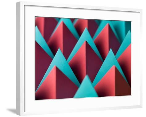 Abstract Geometrical Background with Colorful Paper Pyramids. Selective Focus- Abstract Oil Work-Framed Art Print