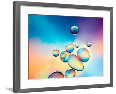 Macro of Oil Drops on Water Surface with Vibrant Colors in Background- Abstract Oil Work-Framed Art Print