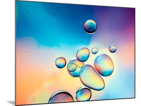 Macro of Oil Drops on Water Surface with Vibrant Colors in Background- Abstract Oil Work-Mounted Photographic Print