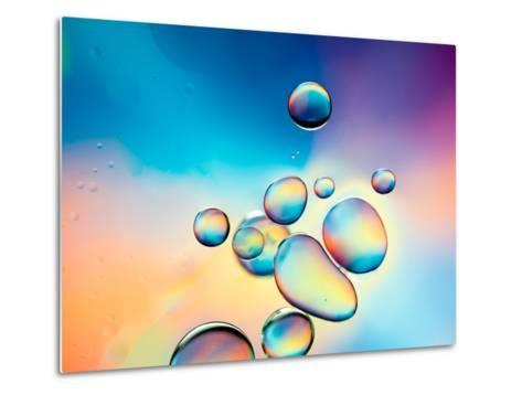 Macro of Oil Drops on Water Surface with Vibrant Colors in Background- Abstract Oil Work-Metal Print