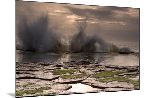 Waves Crashing on to a Rock Shelf-A Periam Photography-Mounted Photographic Print