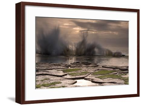 Waves Crashing on to a Rock Shelf-A Periam Photography-Framed Art Print
