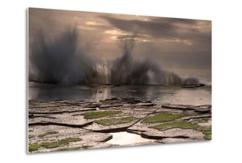 Waves Crashing on to a Rock Shelf-A Periam Photography-Metal Print