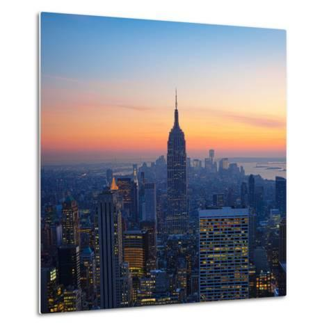 Empire State Building at Sunset from Top of the Rock Observatory-Andria Patino-Metal Print