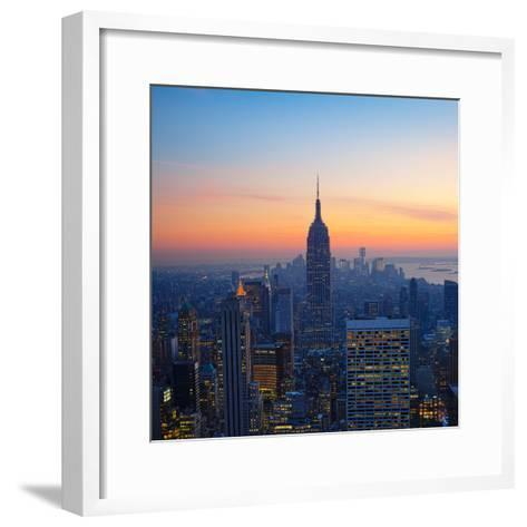 Empire State Building at Sunset from Top of the Rock Observatory-Andria Patino-Framed Art Print