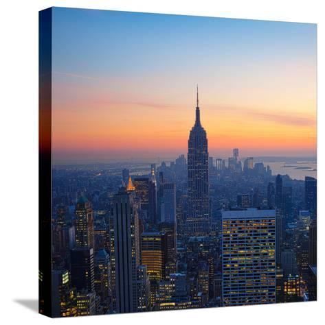 Empire State Building at Sunset from Top of the Rock Observatory-Andria Patino-Stretched Canvas Print