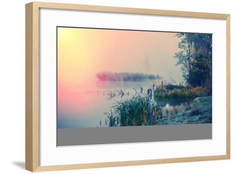 Misty Autumn Morning on the River, Rural Landscape-Andriy Solovyov-Framed Art Print