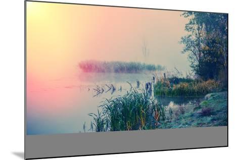 Misty Autumn Morning on the River, Rural Landscape-Andriy Solovyov-Mounted Photographic Print