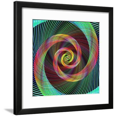 Multicolored Spiral Fractal Design Background-David Zydd-Framed Art Print