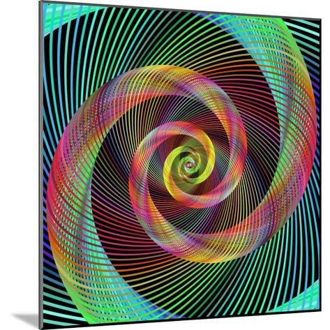 Multicolored Spiral Fractal Design Background-David Zydd-Mounted Photographic Print