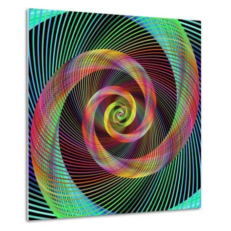 Multicolored Spiral Fractal Design Background-David Zydd-Metal Print
