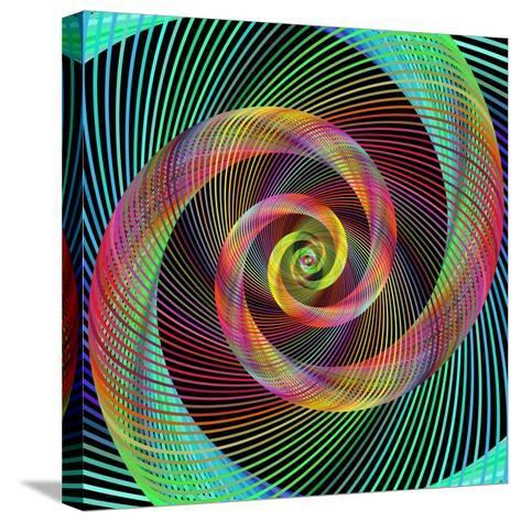 Multicolored Spiral Fractal Design Background-David Zydd-Stretched Canvas Print