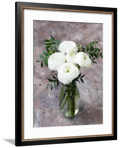 White Ranunculus Flowers in Vase Grey Background-Anna Pustynnikova-Framed Art Print