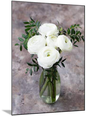White Ranunculus Flowers in Vase Grey Background-Anna Pustynnikova-Mounted Photographic Print