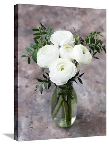 White Ranunculus Flowers in Vase Grey Background-Anna Pustynnikova-Stretched Canvas Print
