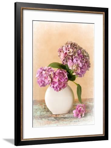 Painterly Textured Flower Still Life on Old Wooden Board- Anyka-Framed Art Print