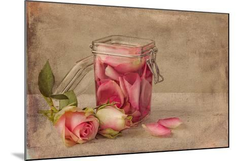 Textured Still Life of Rose Water and Roses on a Painterly Background- Anyka-Mounted Photographic Print