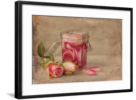 Textured Still Life of Rose Water and Roses on a Painterly Background- Anyka-Framed Art Print