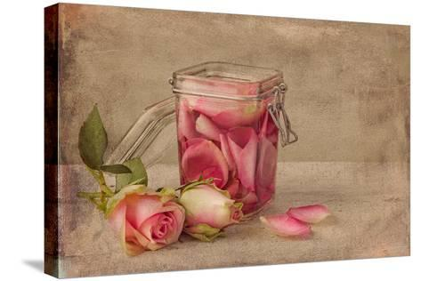 Textured Still Life of Rose Water and Roses on a Painterly Background- Anyka-Stretched Canvas Print