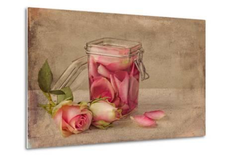 Textured Still Life of Rose Water and Roses on a Painterly Background- Anyka-Metal Print
