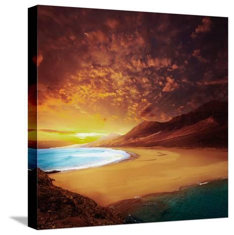 Cofete Fuerteventura Barlovento Beach at Canary Islands of Spain-Naturewolrd-Stretched Canvas Print