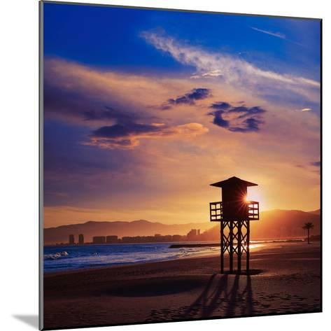 Cullera Playa Los Olivos Beach Sunset in Mediterranean Valencia at Spain-Naturewolrd-Mounted Photographic Print