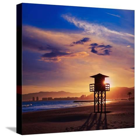 Cullera Playa Los Olivos Beach Sunset in Mediterranean Valencia at Spain-Naturewolrd-Stretched Canvas Print