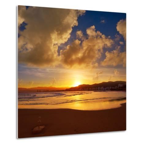 Cullera Playa Los Olivos Beach Sunset in Mediterranean Valencia at Spain-Naturewolrd-Metal Print