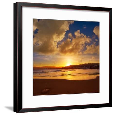Cullera Playa Los Olivos Beach Sunset in Mediterranean Valencia at Spain-Naturewolrd-Framed Art Print