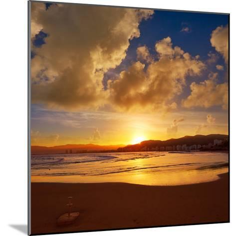Cullera Playa Los Olivos Beach Sunset in Mediterranean Valencia at Spain-Naturewolrd-Mounted Photographic Print