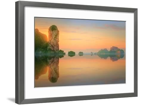 Beautiful Image of Sunset with Colorful Sky and Longtail Boat on the Sea Tropical Beach. Thailand-Hanna Slavinska-Framed Art Print