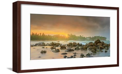 Romantic Untouched Tropical Beach on Sunset, Sri Lanka-Hanna Slavinska-Framed Art Print
