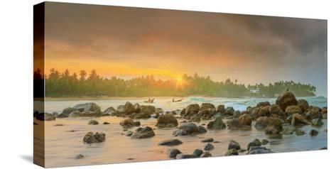Romantic Untouched Tropical Beach on Sunset, Sri Lanka-Hanna Slavinska-Stretched Canvas Print