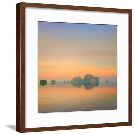Beautiful Image of Sunset with Colorful Sky and Longtail Boat on the Sea Tropical Beach. Thailand-Hanna Slavinska-Framed Art Print