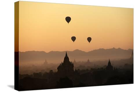 A Beautiful Sunrise over the Buddhist Temples in Bagan-Boaz Rottem-Stretched Canvas Print