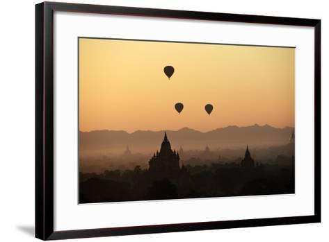 A Beautiful Sunrise over the Buddhist Temples in Bagan-Boaz Rottem-Framed Art Print