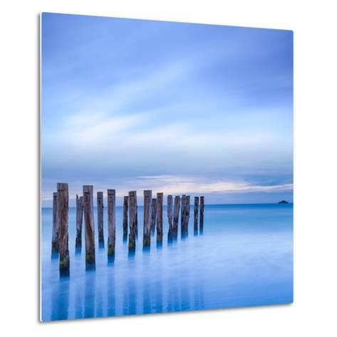 The Remains of an Old Jetty on the Beach Near Dunedin, New Zealand, Just before Dawn, Square-Travellinglight-Metal Print