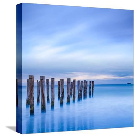 The Remains of an Old Jetty on the Beach Near Dunedin, New Zealand, Just before Dawn, Square-Travellinglight-Stretched Canvas Print