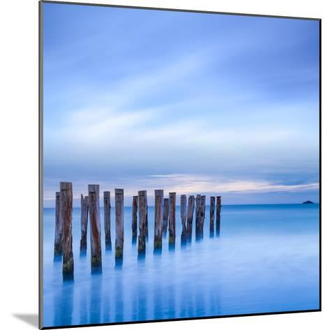 The Remains of an Old Jetty on the Beach Near Dunedin, New Zealand, Just before Dawn, Square-Travellinglight-Mounted Photographic Print