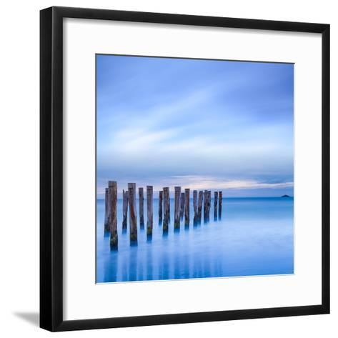 The Remains of an Old Jetty on the Beach Near Dunedin, New Zealand, Just before Dawn, Square-Travellinglight-Framed Art Print