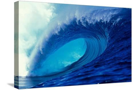 Massive Empty Breaker Ready for the Next Surfer Tahiti-Tony Harrington-Stretched Canvas Print