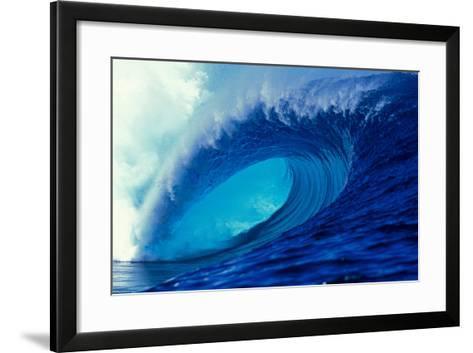 Massive Empty Breaker Ready for the Next Surfer Tahiti-Tony Harrington-Framed Art Print