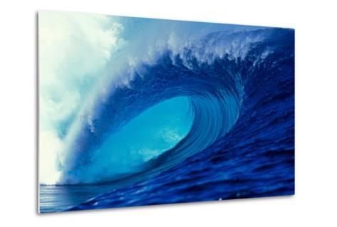 Massive Empty Breaker Ready for the Next Surfer Tahiti-Tony Harrington-Metal Print