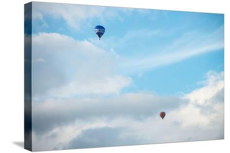Hot Air Balloon High Above Bristol with Storm Clouds, Uk-Dan Tucker-Stretched Canvas Print