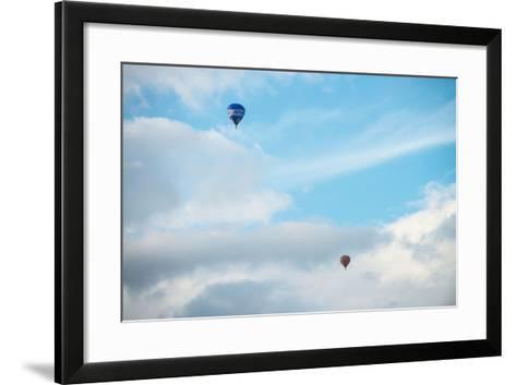 Hot Air Balloon High Above Bristol with Storm Clouds, Uk-Dan Tucker-Framed Art Print